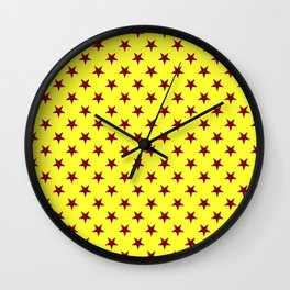 Burgundy Red on Electric Yellow Stars Wall Clock