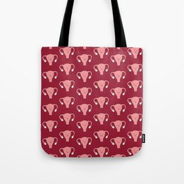 Patterned Happy Uterus in Red Tote Bag