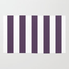 Old heliotrope violet - solid color - white vertical lines pattern Rug