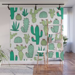 Cactus on White Wall Mural