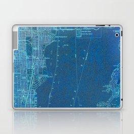 Miami Florida vintage map year 1950, blue usa maps Laptop & iPad Skin