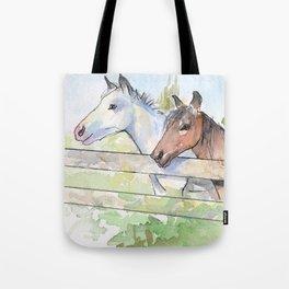 Horses Watercolor Sketch Barn Animals Horse Tote Bag