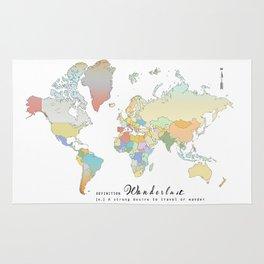 "World Map ""Wanderlust"" Digital Watercolor Rug"