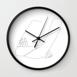 X-Arms - one line woman's crossed arms art Wall Clock