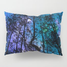 Black Trees Teal Purple Space Pillow Sham