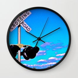 Railroad Crossing Clouds Wall Clock