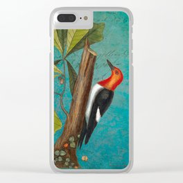 Red Headed Woodpecker with Oak, Natural History and Botanical collage Clear iPhone Case