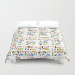 days in a week 1- day,week, daytime,dia,semana,child,school Duvet Cover