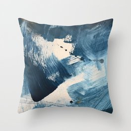 Against the Current: A bold, minimal abstract acrylic piece in blue, white and gold Throw Pillow