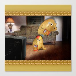 Father And Son Couch Potatoes Canvas Print