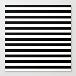 Black and White Horizontal Strips Canvas Print