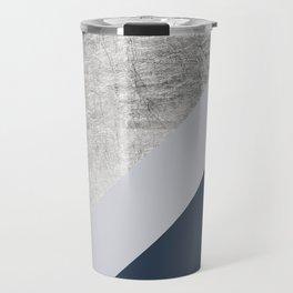Modern minimalist navy blue grey and silver foil geometric color block Travel Mug