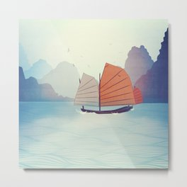 Chinese Boat on the water Metal Print