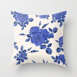 Seamless blue roses pattern Throw Pillow