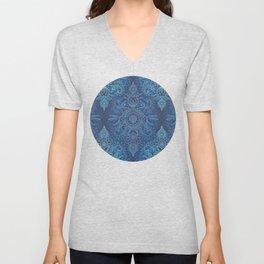 Aqua, Cobalt Blue & Purple Protea Doodle Pattern Unisex V-Neck