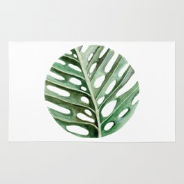 Circular Monstera Leaf Painting Rug