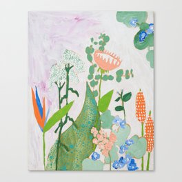 Multi Floral Painting on Pink and White Background Canvas Print