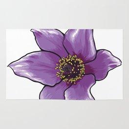Purple Anemone Flower Rug
