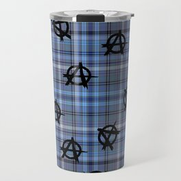 blue  plaid anarchy Travel Mug