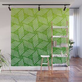 Japanese style wood carving pattern in green Wall Mural