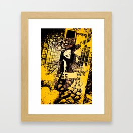 GONE - Abstract surreal yellow black collage Part 1/3 Framed Art Print
