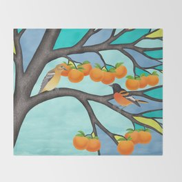 B. orioles in the stained glass tree Throw Blanket
