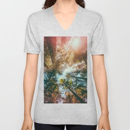 California Redwoods Sun-rays and Sky Unisex V-Neck