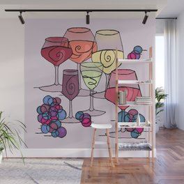 Wine and Grapes v2 Wall Mural