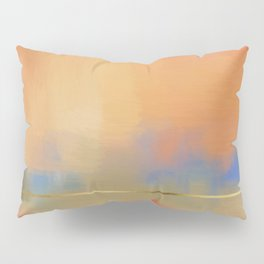 Abstract Landscape With Golden Lines Painting Pillow Sham