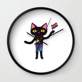 Pride Flag Black Cat Wall Clock