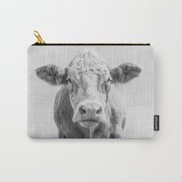 Animal Photography | Cow Portrait Minimalism | Farm animals | black and white Carry-All Pouch