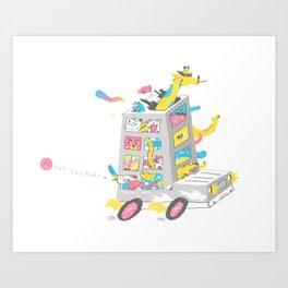 Zoo on Wheels Art Print