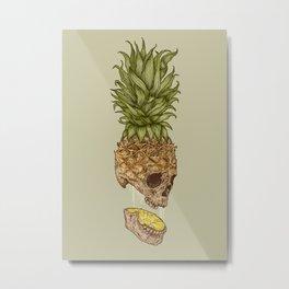 Pineapple Skull Metal Print
