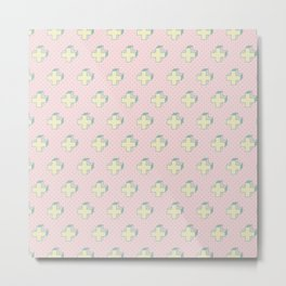 Memphis Pattern - Gemetrical Plus Retro Art in Pink and Yellow - Mix & Match Metal Print
