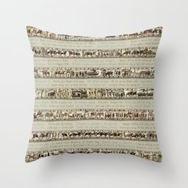 Bayeux Tapestry on cream - Full scenes and description Throw Pillow
