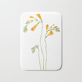 orange freesia watercolor Bath Mat