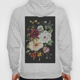 Colorful Wildflower Bouquet on Charcoal Black Hoody