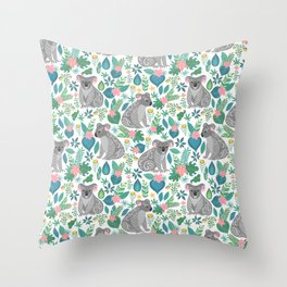 Cute gray koalas with ornaments, tropical flowers and leaves. Seamless tropical pattern. Throw Pillow