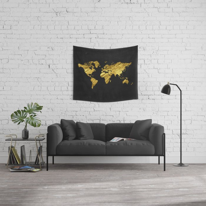 Black gold decor gold world map office decor bathroom glam black gold decor gold world map office decor bathroom glam black gumiabroncs Images