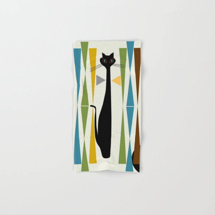 Mid-Century Modern Art Cat 2 Hand & Bath Towel