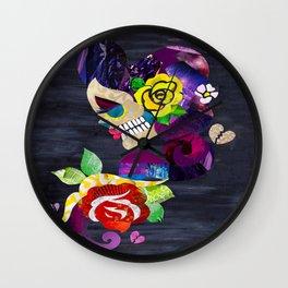 Sad Sugar Skull Wall Clock