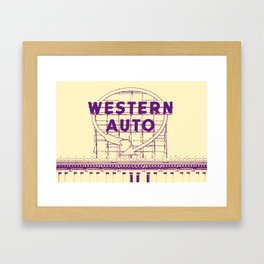 Western Auto Neon Sign In Downtown Kansas City Framed Art Print