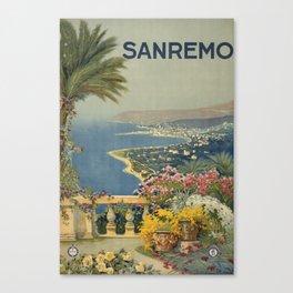 Vintage Travel Poster - Sanremo - Vintage Italy Travel Poster Canvas Print