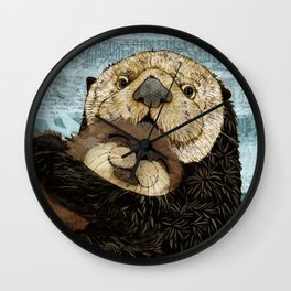 Sea Otter Mother and Baby Wall Clock