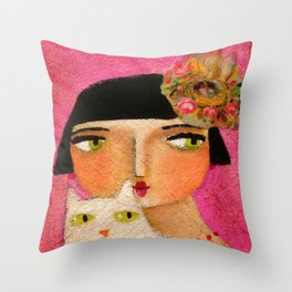 White Cat and Flapper girl pretty painting by Tascha Throw Pillow