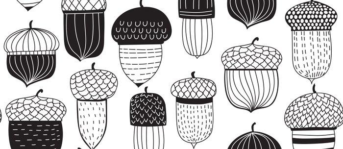 Doodle acorns autumn pattern Coffee Mug