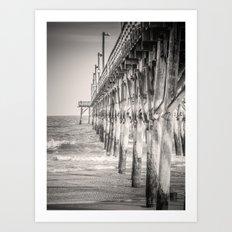 Fishing Pier Surf City Beach Topsail Island NC Sepia Black & White Art Print