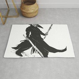 Samurai skull - japanese evil - black and white - fighter illustration - grim reaper cartoon Rug