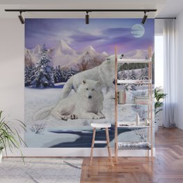 Snow Wolves of the Wilderness Wall Mural