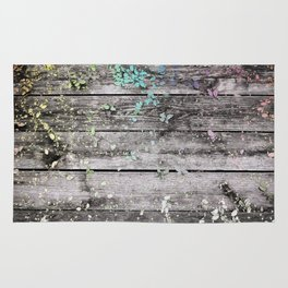 Planks and leaves Rug